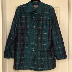 Chico's Teal Embellished Silk Jacket